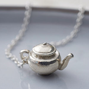 Silver Teapot Necklace - alice in wonderland gifts