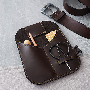 Recycled Leather Garden Belt Pouch