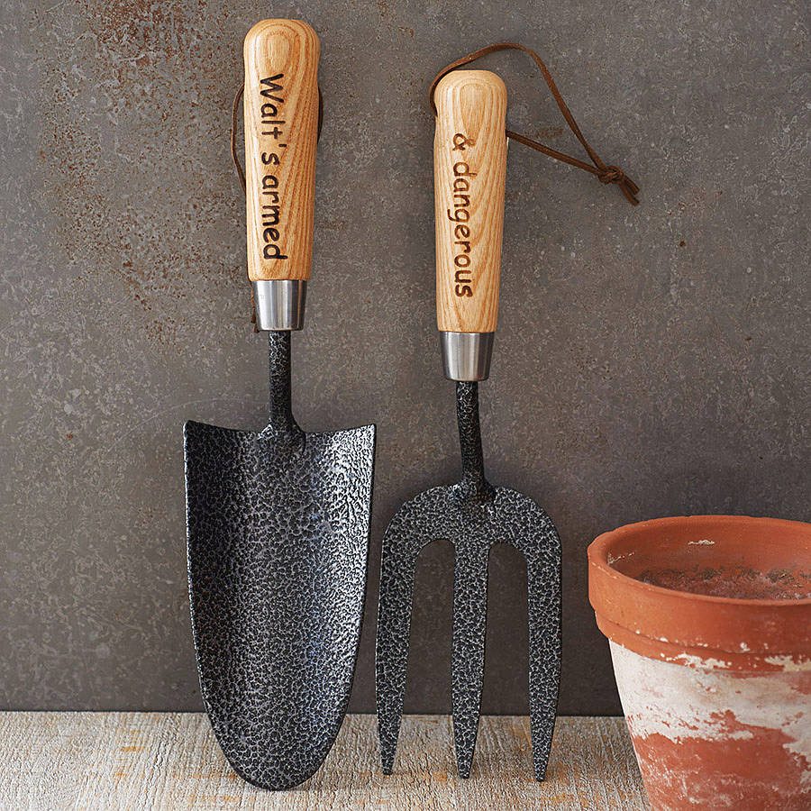 personalised garden trowel and fork set by british and