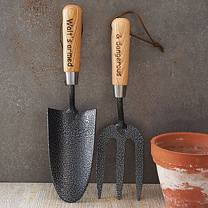 Personalised Garden Trowel And Fork Set - home