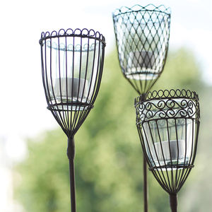 Set Of Two Garden Lantern Stakes - outdoor decorations