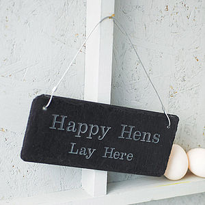Engraved Slate Chicken Shed Sign - gifts for pets