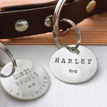 Personalised Sterling Silver Dog Name Tag