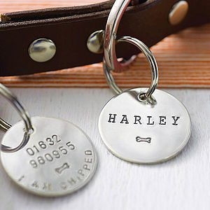 Personalised Sterling Silver Dog Name Tag - best collars & tags