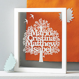 Personalised Family Tree Papercut - for mothers