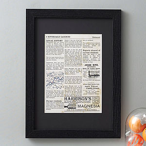 Personalised Home History Print - gifts for the home