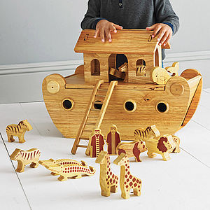 Natural Wood Noah's Ark With Animals - christening gifts