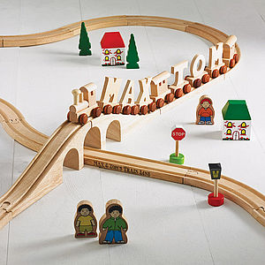Personalised Wooden Train Track - christening gifts
