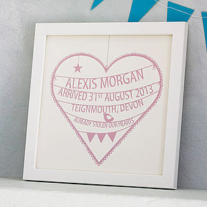 Personalised New Baby Heart Print - nursery pictures & prints
