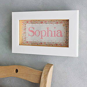 Personalised Fabric Framed Baby Name - personalised gifts