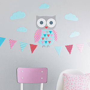 Owl And Bunting Wall Sticker Set - wall stickers