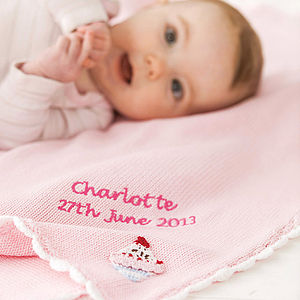 Personalised Knitted Cupcake Baby Blanket - sleeping