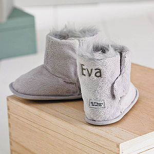 Personalised Fur Lined Baby Booties - baby's first Christmas