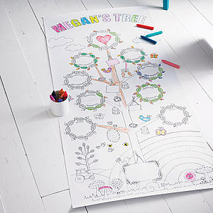Personalised Colour In Family Tree Poster - rainy day activities