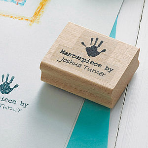 'Masterpiece By' Personalised Hand Rubber Stamp - stamps & inkpads