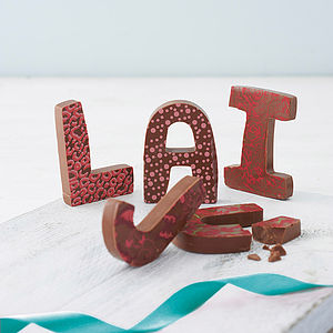 Patterned Milk Chocolate Letter - wedding table styling