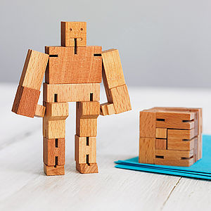 Wooden Cube Robot - collector's toys & games
