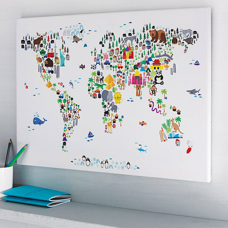Animal world map print by artpause for World map wall print