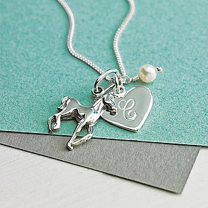 Initial And Horse Charm Necklace - pets