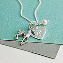 Initial and Horse Charm Necklace - White Fresh Water Pearl birthstone