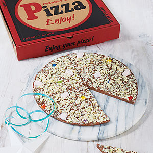 Yummy Scrummy Chocolate Pizza - gifts for him