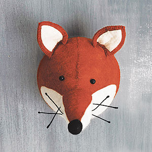 Felt Fox Head Wall Hanging - decorative accessories