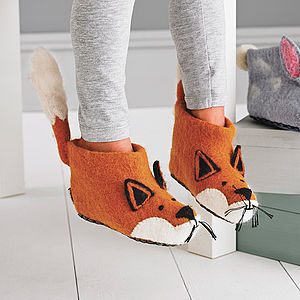 Children's Finlay Fox Felt Slippers - woodland nursery