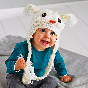 Hand Crochet Snow Owl Hat - babies' hats