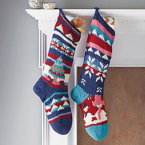 Hand Knitted Christmas Stocking - unique christmas homeware