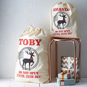 Personalised Reindeer Christmas Sack - stockings & sacks