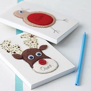 Personalised Embroidered Robin Or Reindeer Notepad - personalised
