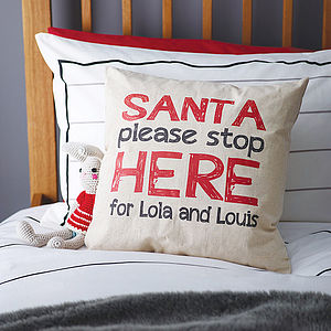 Personalised 'Santa Stop' Linen Cushion - baby's room