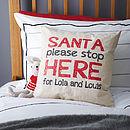 Personalised 'Santa Stop' Linen Cushion