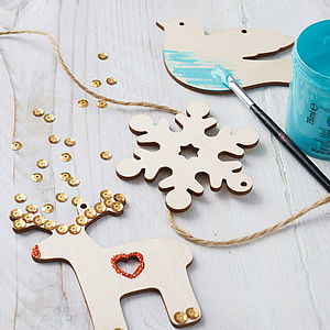 Set Of Paint Your Own Christmas Decorations - stocking fillers under £15