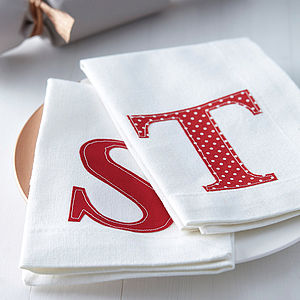 Set Of Four Initial Napkins - shop by price