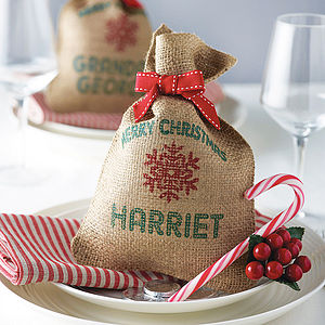 Personalised Mini Christmas Sack - ribbon & wrap