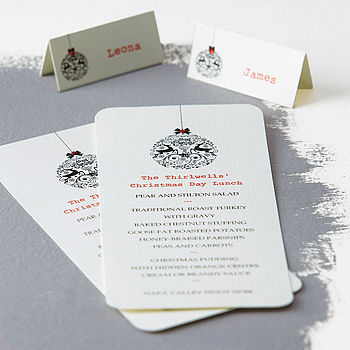 Personalised Christmas Menu And Place Cards