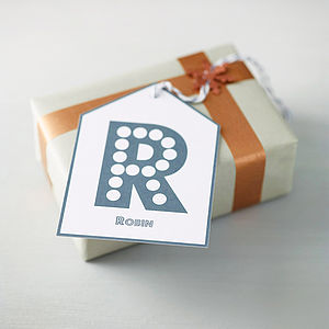 Personalised Initial Gift Tag - ribbon & wrap