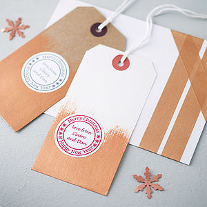 20 Personalised Christmas Stickers - ribbon & wrap