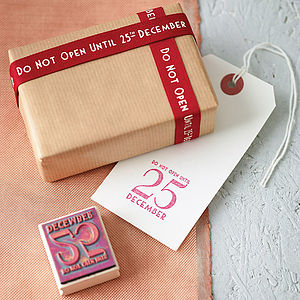 'Do Not Open' Christmas Ribbon And Stamp Set