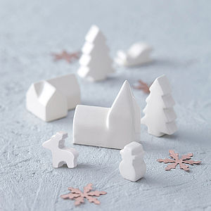 Ceramic Mini Christmas Village - table decorations