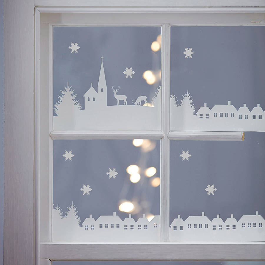 christmas village scene vinyl stickers by nutmeg. Black Bedroom Furniture Sets. Home Design Ideas