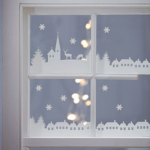 Christmas Village Scene Vinyl Stickers - festive wall art