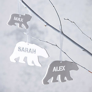Personalised Polar Bear Christmas Decoration - monochrome & metallic christmas decorations