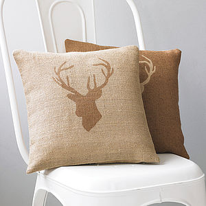Stag's Head Hessian Cushion - winter homeware