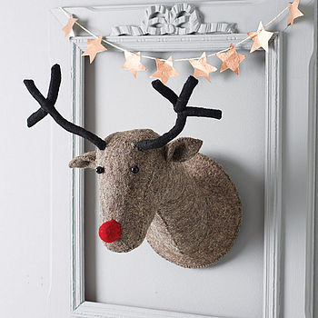 Grey Felt Reindeer Head