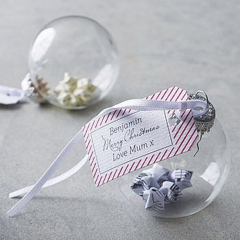 Personalised 5cm Origami Star Glass Bauble