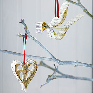 Handmade Sheet Music Christmas Decoration - tree decorations