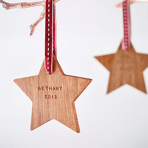 Personalised First Christmas Star Decoration - tree decorations