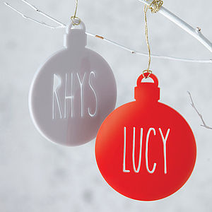 Personalised Name Laser Cut Christmas Tree Bauble - bright & bold styling